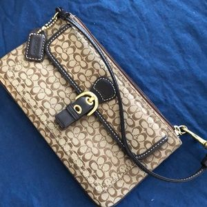 COACH Brown Cloth Logo Small Buckle Wristlet